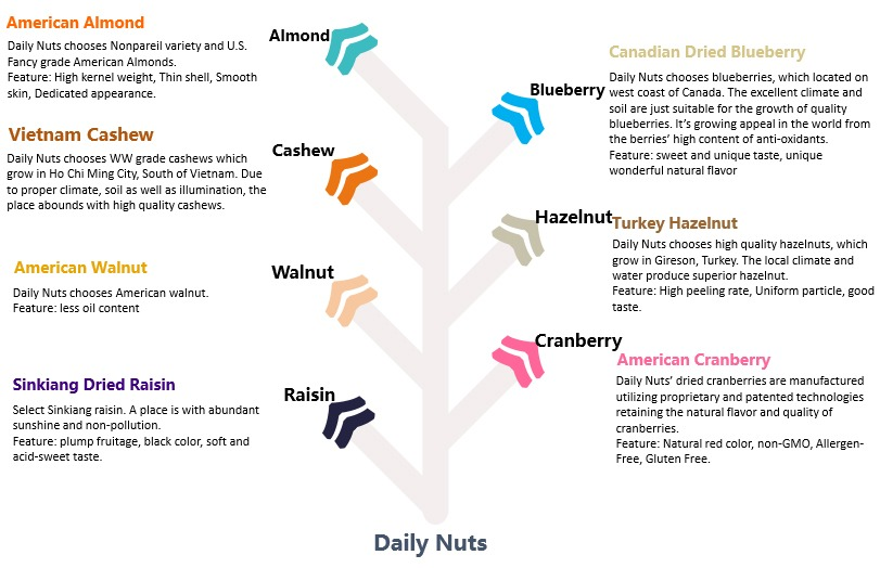 6 types of nuts