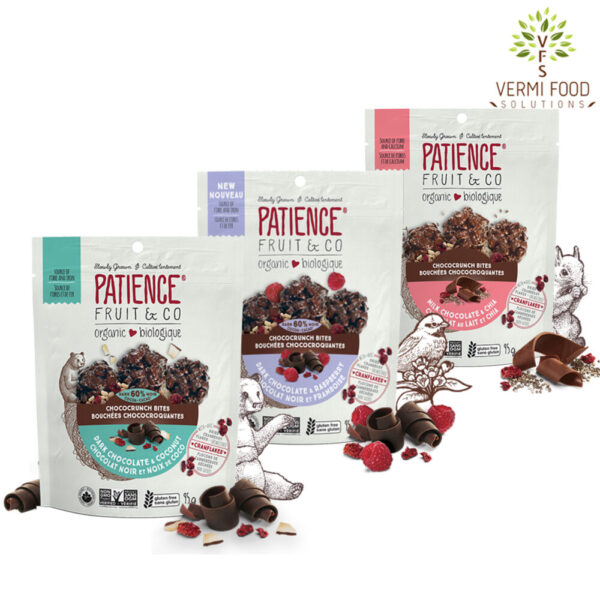 Patience Cococrunch Bites Organic Chocolate with Raspberry OR Coconut Chips OR Chia Seeds